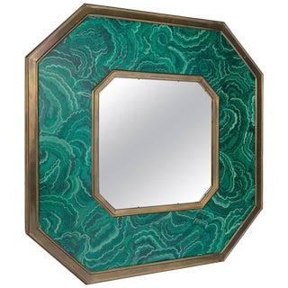 1970s Faux Painted Malachite Mirror by Sarreid