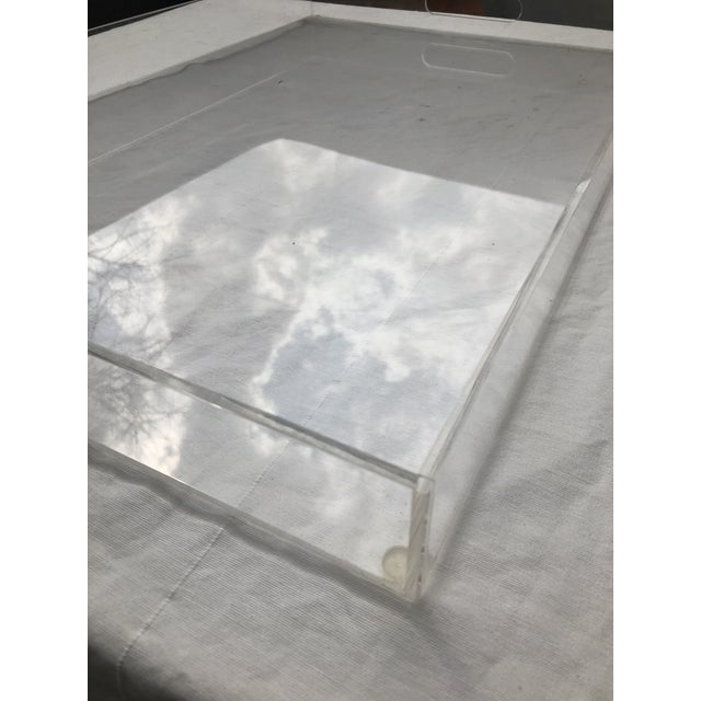 Early 21st Century Large Lucite Tray With Cutout Handles For Sale - Image 5 of 12