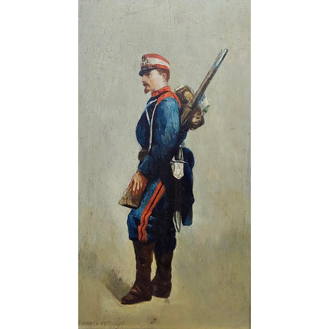 Empire Edouard Jean Baptiste Detaille -Portrait of a Napoleonic Soldier -Oil Painting C.1870s For Sale - Image 3 of 11