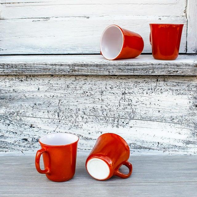 Vintage Corningware Rust Orange Milk Glass Cups - Set of 4 For Sale In Boston - Image 6 of 9