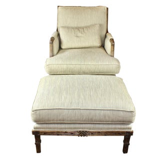 Early 21st Century Century Furniture Bergere Chair and Ottoman For Sale