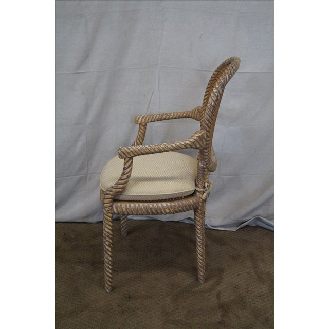 Hollywood Regency Gilt Painted Rope Turned Chair - Image 3 of 10