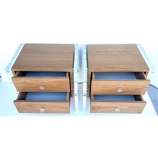 Mid-Century Floating Lucite Nightstands - Pair - Image 4 of 6