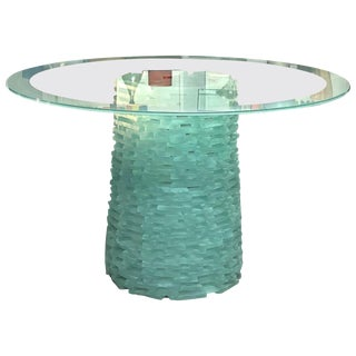 Murano Stacked Glass Modern Round Dining Table, 1980s For Sale