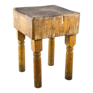 20th C. Oak and Pine Butcher Block Table For Sale