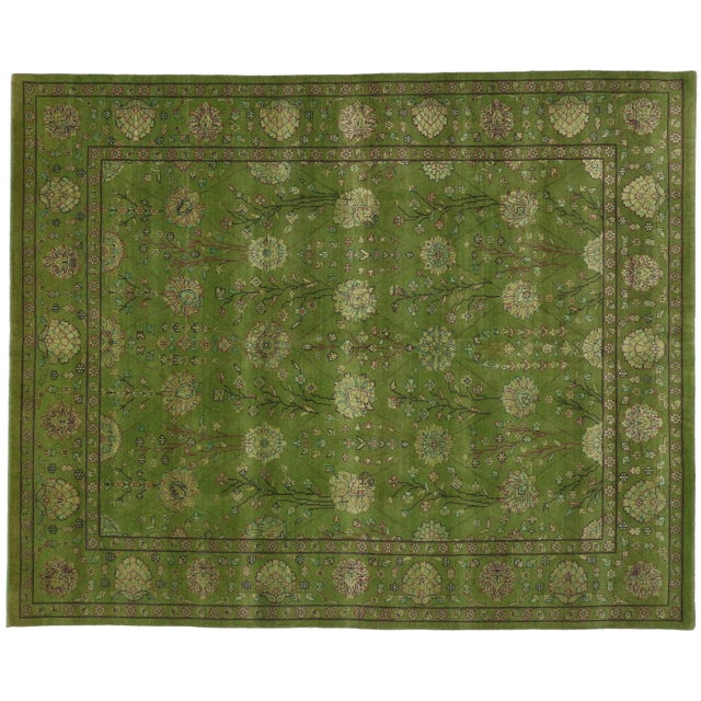 Transitional Indian Rug in Green - 8′1″ × 10′ - Image 1 of 4