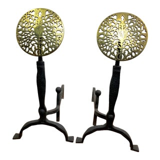 Brass Filigree and Iron Andirons For Sale