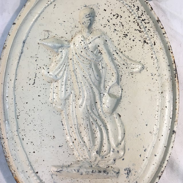 Antique Style Cast Iron Neoclassical Woman Relief Wall Plaque For Sale - Image 4 of 7