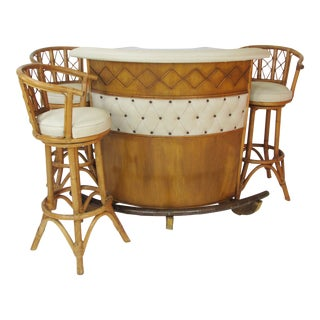 Rattan Upholstered Bar With 3 Stools For Sale