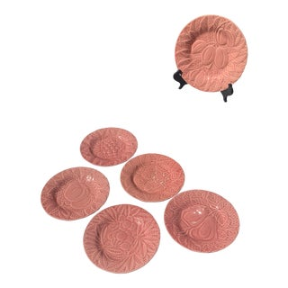 Bordallo Pinheiro Pink Majolica Luncheon Fruit Plates- Set of 6 For Sale