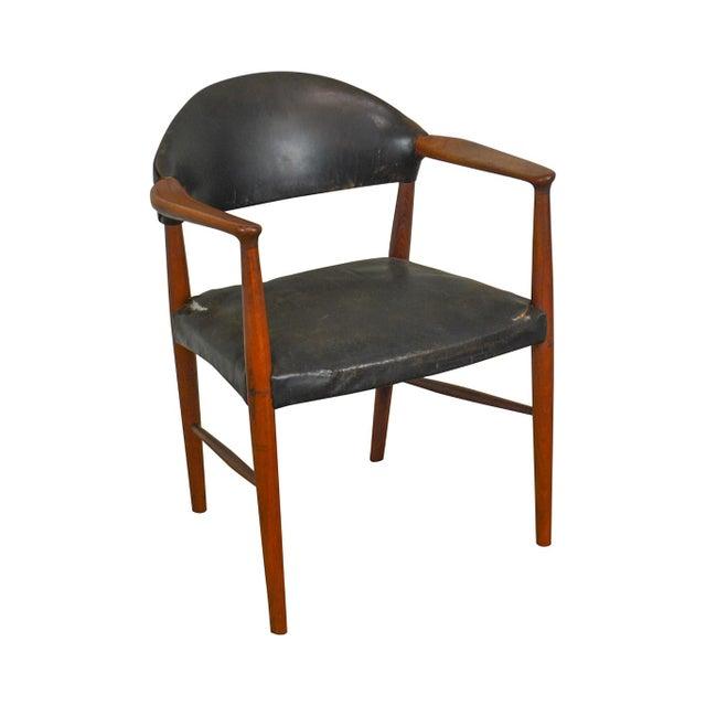 Danish Modern Teak & Black Leather Vintage Arm Chair For Sale - Image 13 of 13