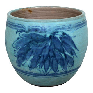 Mid-Century Modern Blue Glazed Ceramic Pot Signed j.t Abernathy, 1960s For Sale