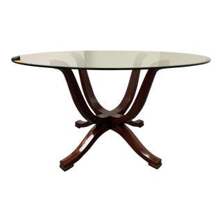 Z-Gallerie Glass Top Table + Pedestal Base For Sale