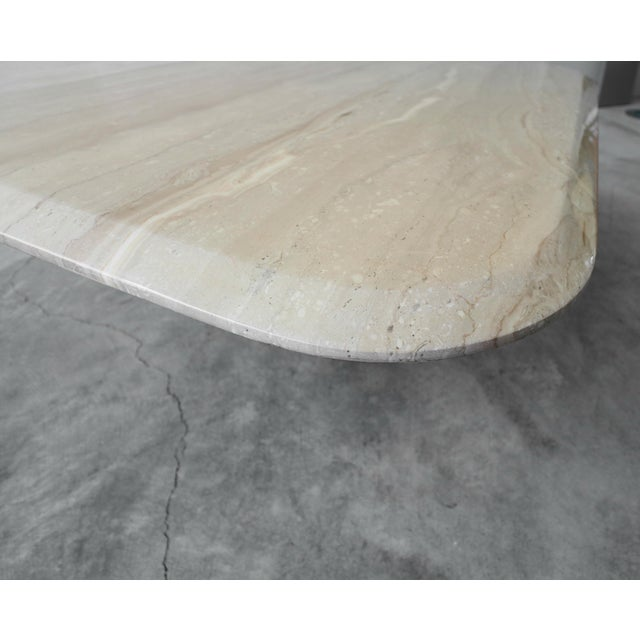 Square Polished Italian Travertine Coffee Table For Sale In Las Vegas - Image 6 of 7