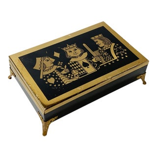 Footed Playing Card Caddy With Playing Card Deck For Sale