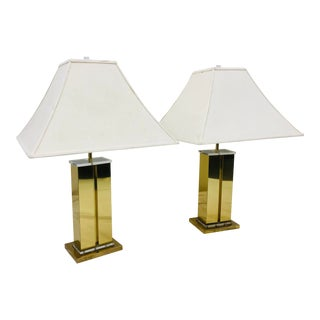 Pair Vintage Fredrick Ramond Brass & Lucite Lamps For Sale