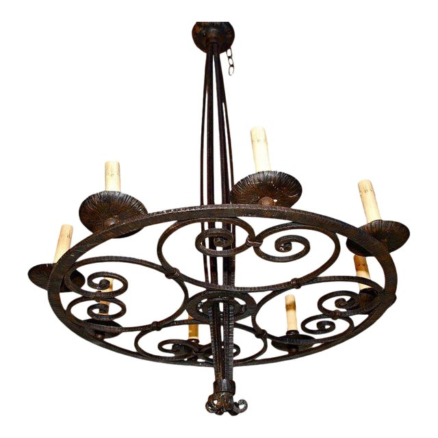 French Art Deco Wrought Iron Chandelier For Sale