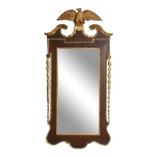 Antique Federal Mirror Semi Gilded With Eagle Top and Broken Pediment For Sale