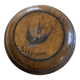 French Antique Wood Box with Bird For Sale