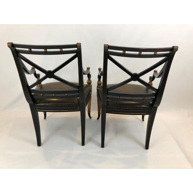 Brown Regency Black and Gilded Armchairs With Leather Seats - a Pair For Sale - Image 8 of 13