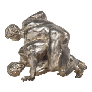 SIlvered Bronze of Wrestlers For Sale