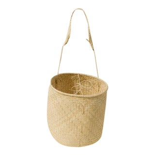 Boho Chic Oaxaca Palm Basket With Strap For Sale