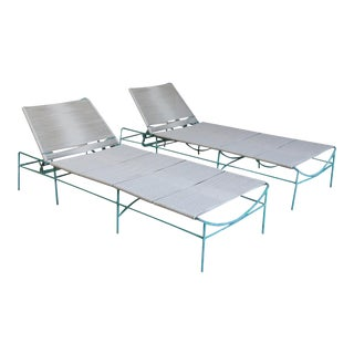 Mid Century Modern Solid White Aluminum and Rope Outdoor Adjustable Chaises - a Pair