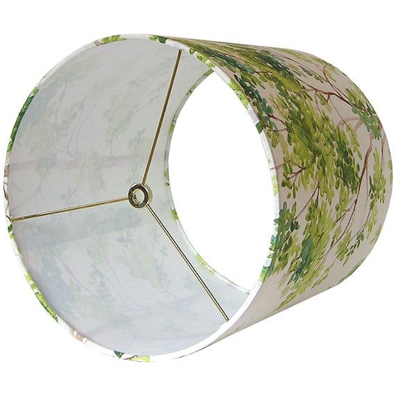 Contemporary Large Vilber Trees Green Custom Drum Lamp Shade For Sale - Image 3 of 4
