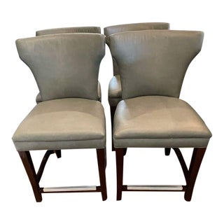 Set of 4 T C S Gray Leather Stools For Sale