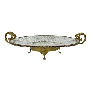 Rococo Style Gilt Brass Serving Platter With Ornate Handles & Footed Base For Sale