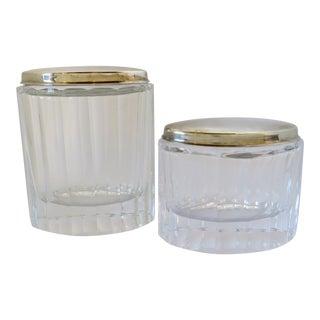 Cut Crystal & Silver Lidded Jars, Set of 2 For Sale