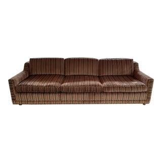 1970s Velvet Striped Couch- Original Upholstery For Sale