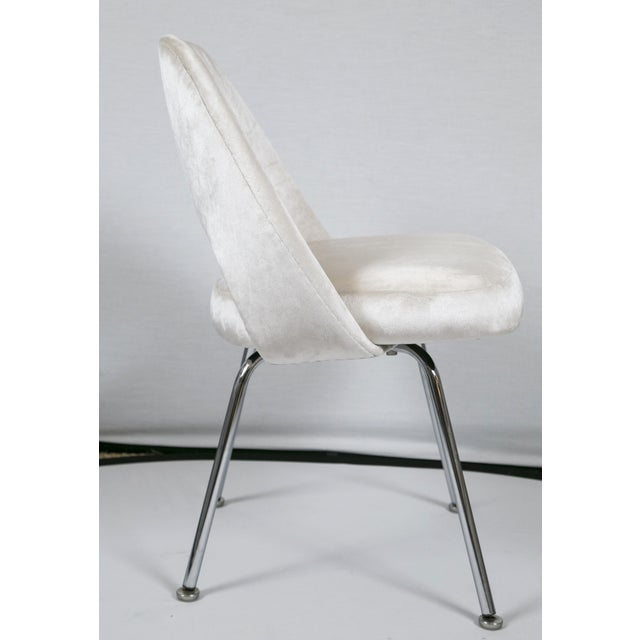 Saarinen Executive Armless Velvet Chairs - S/6 - Image 6 of 10