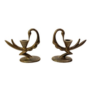 Art Deco Bronzed Iron Peacock Candle Holders - a Pair For Sale