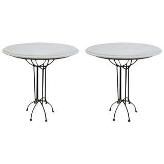 Pair of Wrought Iron and Italian Marble-Top Tables For Sale