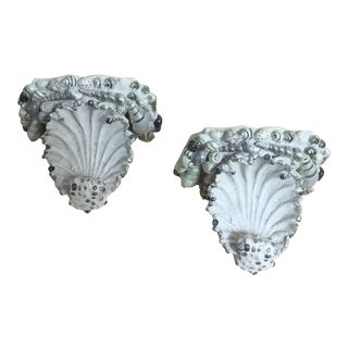 Vintage Seashell Wall Brackets - a Pair For Sale