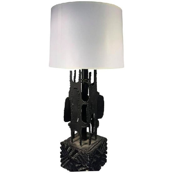 "An exceptional, Brutalist torch cut steel table lamp with drum shade by Harry Balmer, circa 1970. Measures: 27"" H x 9"" W..."