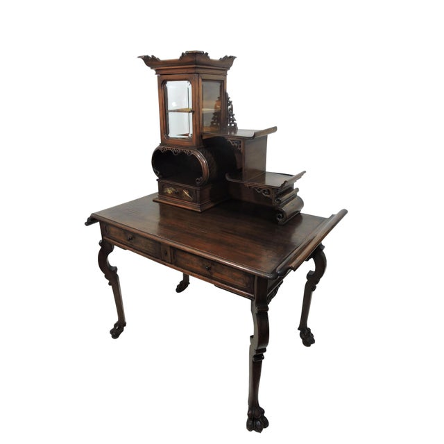 Asian Antique French/Japanese Secretaire Attributed to Gabriel Verdoit, Etagere Desk/Console For Sale - Image 3 of 9
