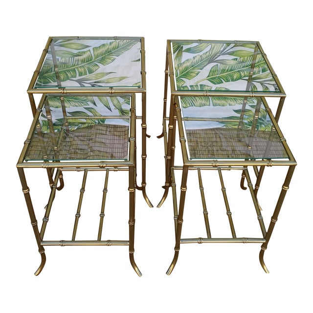 Palm Beach Regency Gold Faux Bamboo Square Set of 4 Glass and Metal Nesting Tables For Sale