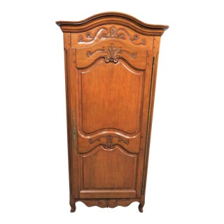 Late 20th Century Louis XV French Cherry Carved Armoire For Sale