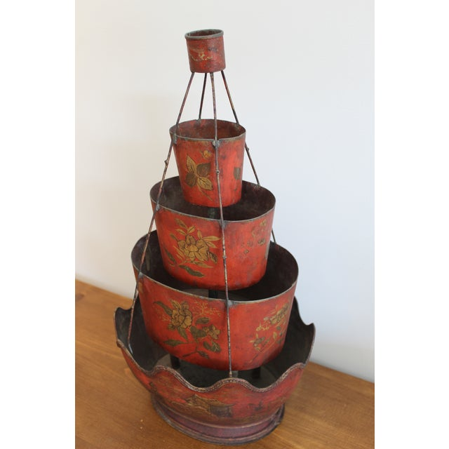 Chinoiserie 18th Century Red Tole Four-Tier Monteith For Sale - Image 3 of 5