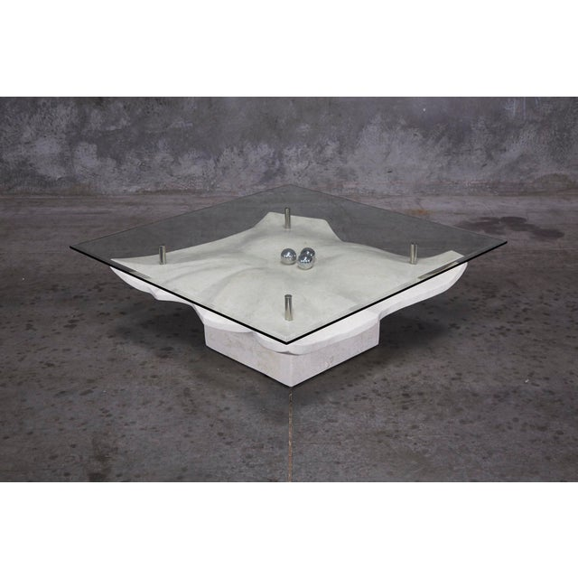 """Maitland - Smith 1990s Post-Modern Tessellated Stone """"Chiseled"""" Cocktail Table For Sale - Image 4 of 13"""