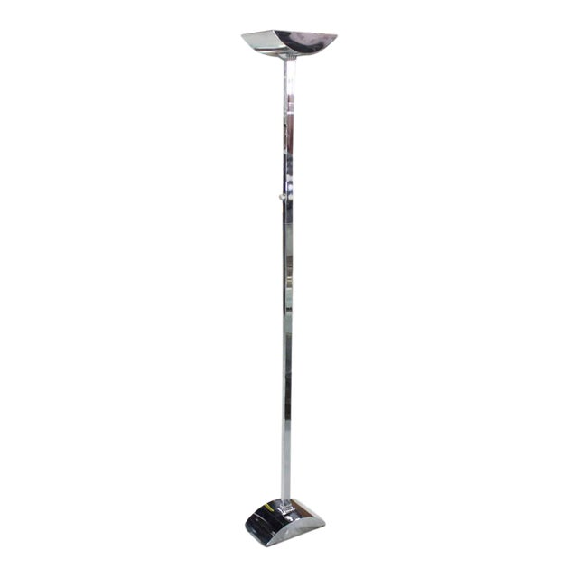 Silver Mid-Century Modern Polished Chrome Floor Lamp For Sale - Image 8 of 8