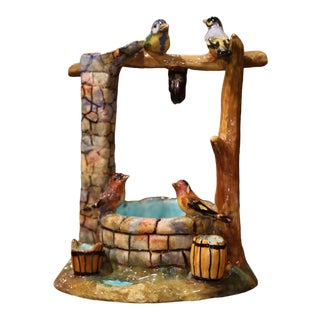 Early 20th Century Painted Ceramic Barbotine Well Sculpture With Birds For Sale