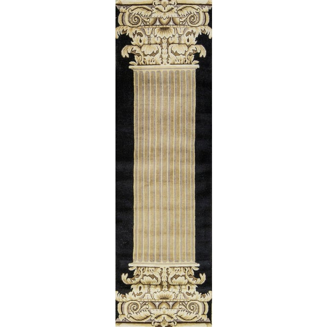 Contemporary Hand Woven Beige and Black Wool Rug 2'8 X 8'10 For Sale - Image 4 of 4