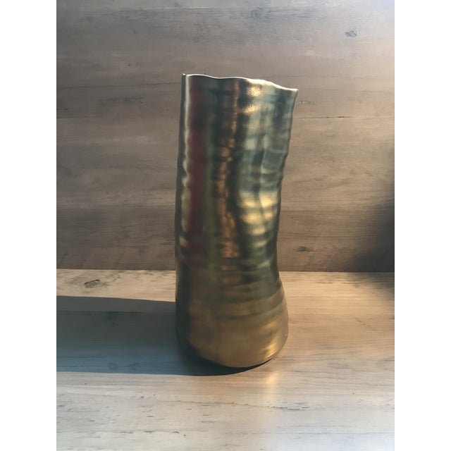 Mid Century Modern Bronzed Ceramic Vase For Sale - Image 4 of 7