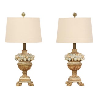 1960s Italian Della Robbia Carved Wood Lamps - a Pair For Sale