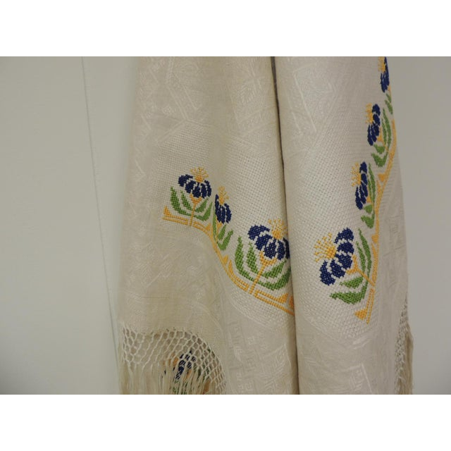 Antique woven floral Turkish towels with hand-knotted fringes. Jacquard texture depicting flowers and embroidered floral...