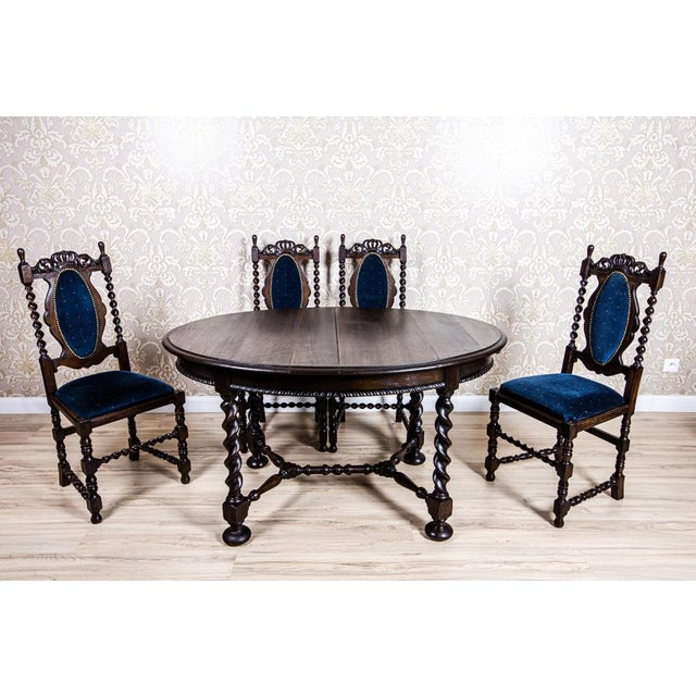 19th-Century Carved Table With Chairs For Sale - Image 11 of 11