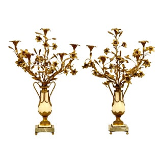Antique Late 19th Century Gilt Bronze and Marble Candelabras - a Pair For Sale